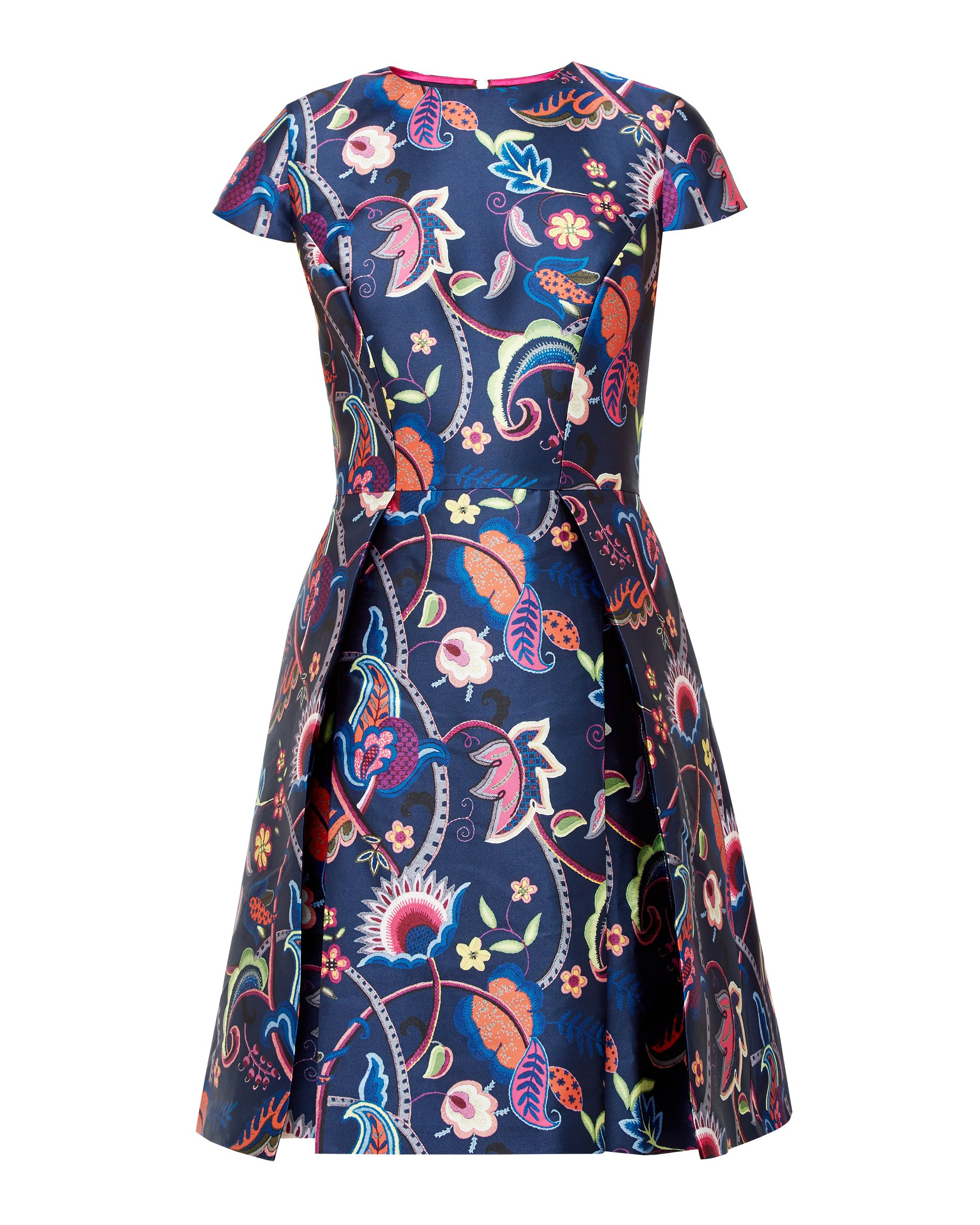 Ted Baker Fluxam Folk Foliage skater dress Dark Blue