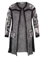 Chesca BlackIvory Patchwork Crush Pleat Coat