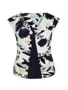 Chesca Floral Print Camisole with Navy Trim