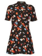 MISSTRUTH Floral Print High Neck A-Line Dress