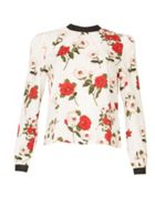 Miss Truth Floral Print Contrast Collar Top