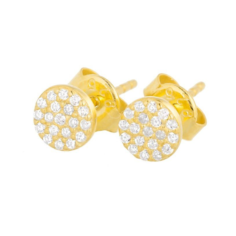 Lucky Eyes Mini Pave Disk Stud Earrings NA