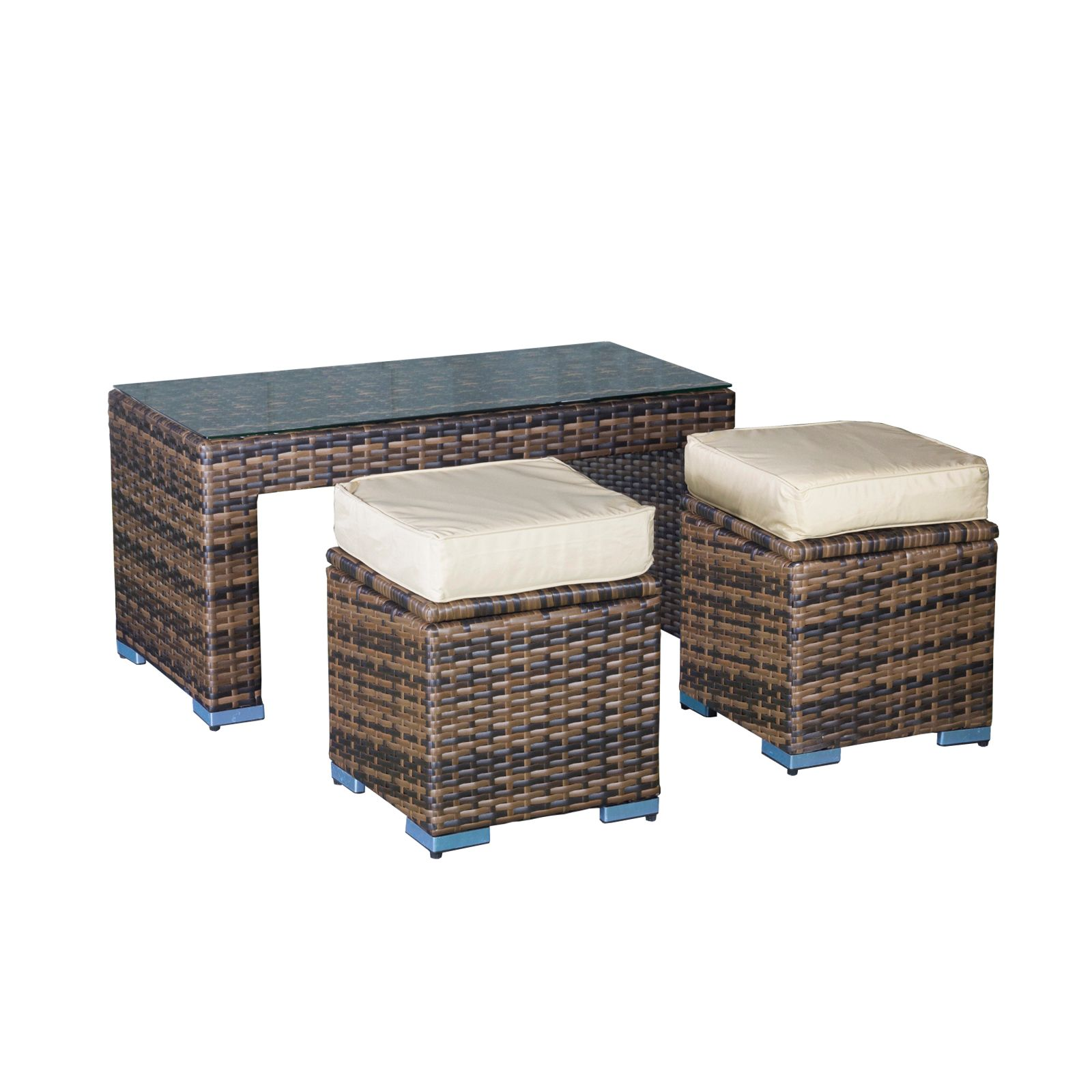 Oseasons Oxford Rattan Modular Coffee Table & 2 Stool Set House