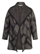 Chesca Crochet Trim Zig-Zag Jacquard Coat