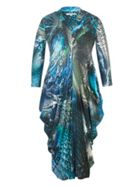 Chesca Abstract Peacock Print Jersey Dress