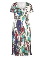 Chesca Floral Print Crush Pleat Dress