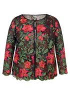 Chesca Embroidered Mesh Jacket With Scallop Trim