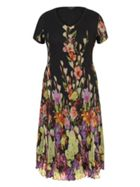 Chesca Floral Border Crush Pleat Dress