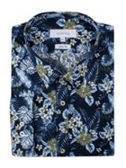 Men's Limehaus Navy Hawaiian Print Forward Point Shirt