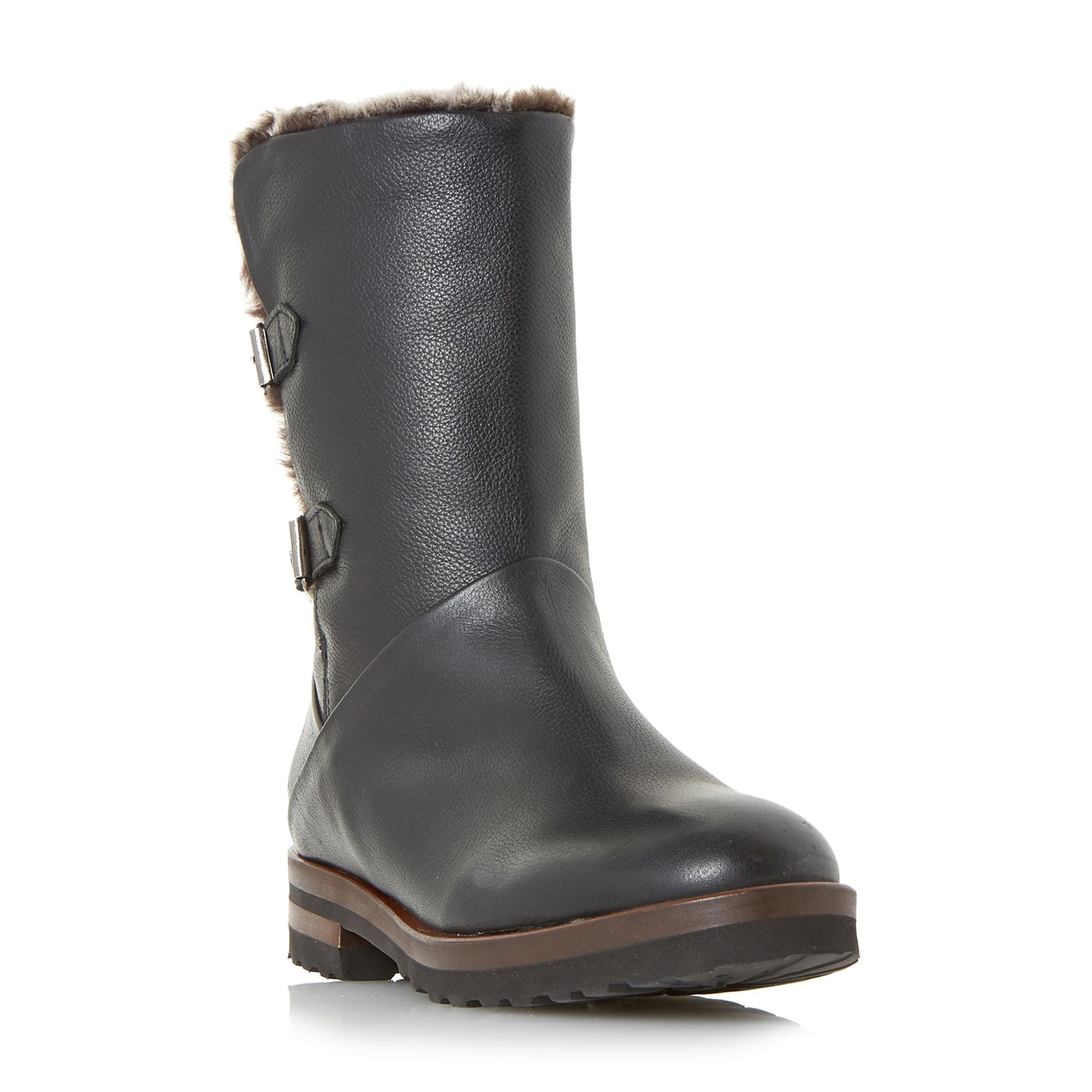 Retro Boots, Granny Boots, 70s Boots Dune Raylan Double Buckle Fur Lined Boots Black £140.00 AT vintagedancer.com