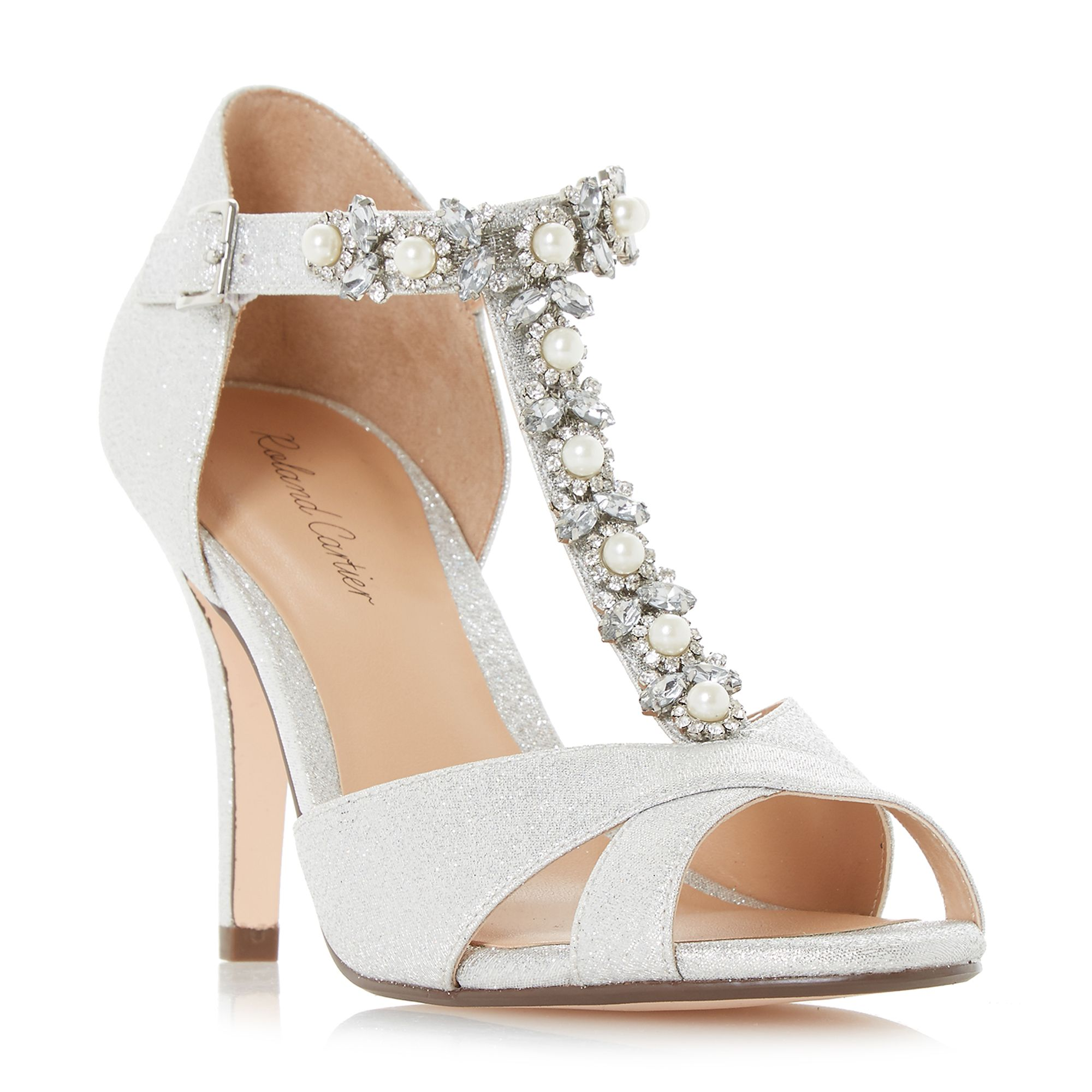 Roland Cartier Maddalyn Embellished T-Bar Court Shoes ...