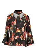 Be Jealous Black Floral Tie Neck Blouse