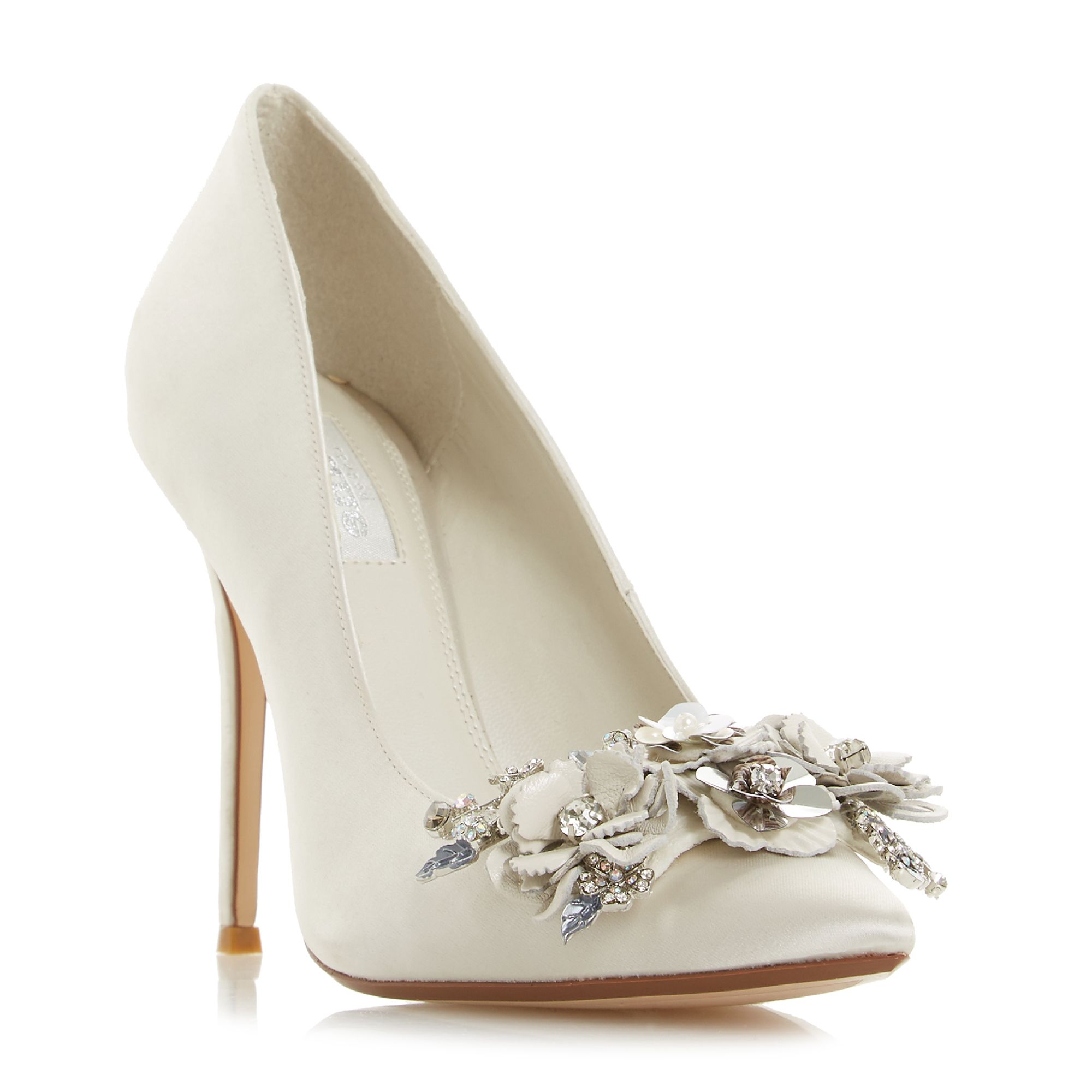 Ivory Bridal Shoes With Diamante Heel