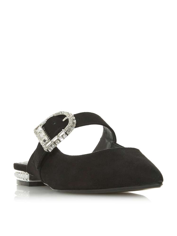 Dune Dasher Diamante Buckle Flat Shoes - House of Fraser