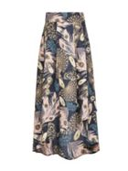 Smart & Joy Bohemian Feather Print Maxi Skirt