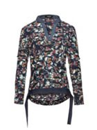 Smart & Joy Leaves Print V-Neck Blouse