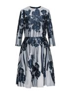 Forest Pattern Jacquard Belted Dress