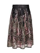 Forest Pattern Lace Puffy Midi Skirt