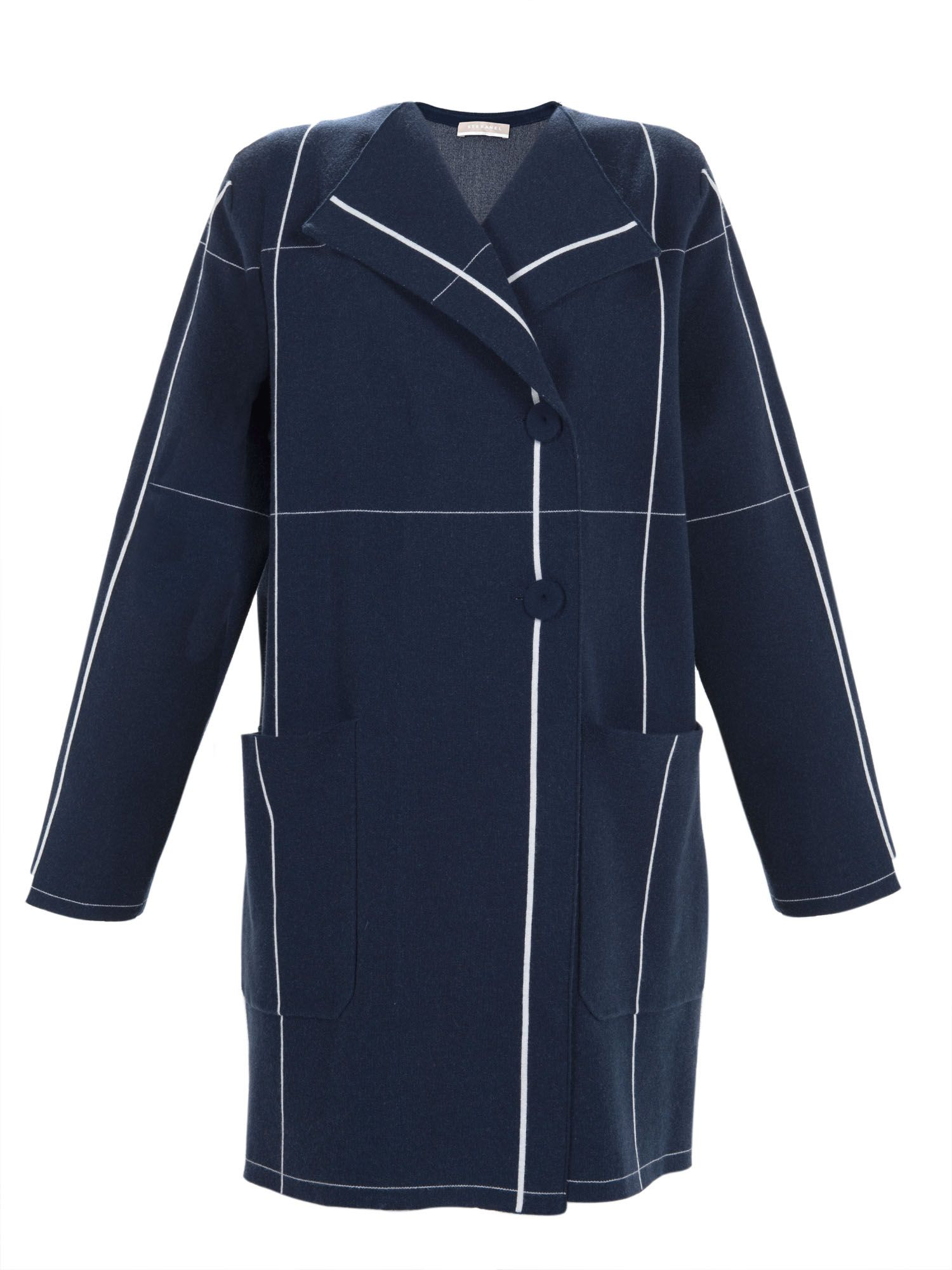 Stefanel Check Pattern Car Coat, Blue
